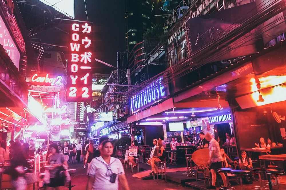 Soi Cowboy, a red light district in downtown Bangkok